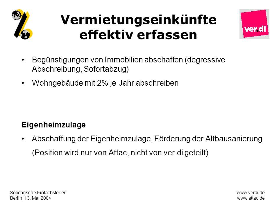 Solidarische Einfachsteuer Berlin, 13. Mai 2004 www.verdi.de www.attac.de Vermietungseinkünfte effektiv erfassen Begünstigungen von Immobilien abschaf