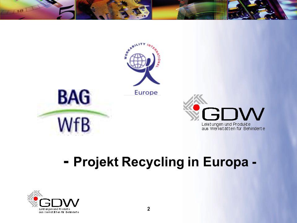 3 Workability International Europe (WIE) Dachorganisation auf europäischer Ebene BAG:WfbM Dachorganisation der WfbM in Deutschland Mitgliedschaft in WIE GDW-Organisationen Dienstleistungsunternehmen für WfbM Mitgliedschaft in WIE 12 Jahre Erfahrung im Elektro-Recycling Das europäische Recycling-Netzwerk