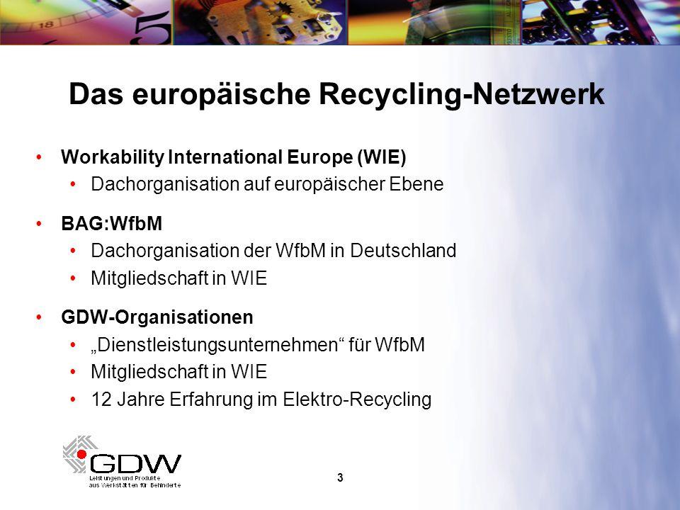 4 Koordination durch Workability International Europe Engagement von 7 Mitgliedsorganisationen Alle Organisationen mit Erfahrung im Recyclingsektor WEEE-Richtlinie als Chance für neue Arbeitsbereiche Das erste konkrete europäische Projekt
