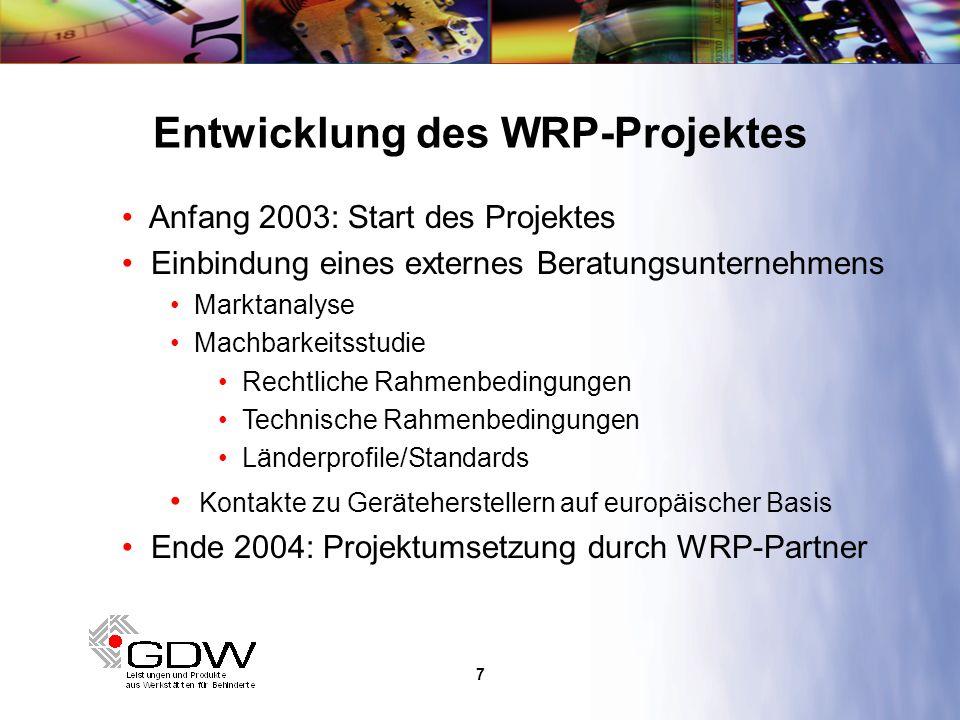 8 Aktueller Stand des WRP-Projektes Aufbau/Organisation von Recycling-Strukturen in den Partnerländern Know how – Transfer Interner Organisation (national und projektbezogen) Qualitätsstandards Dokumentationsverfahren Verhandlungen mit Geräteherstellern Logistikabläufen durch europäische Teams