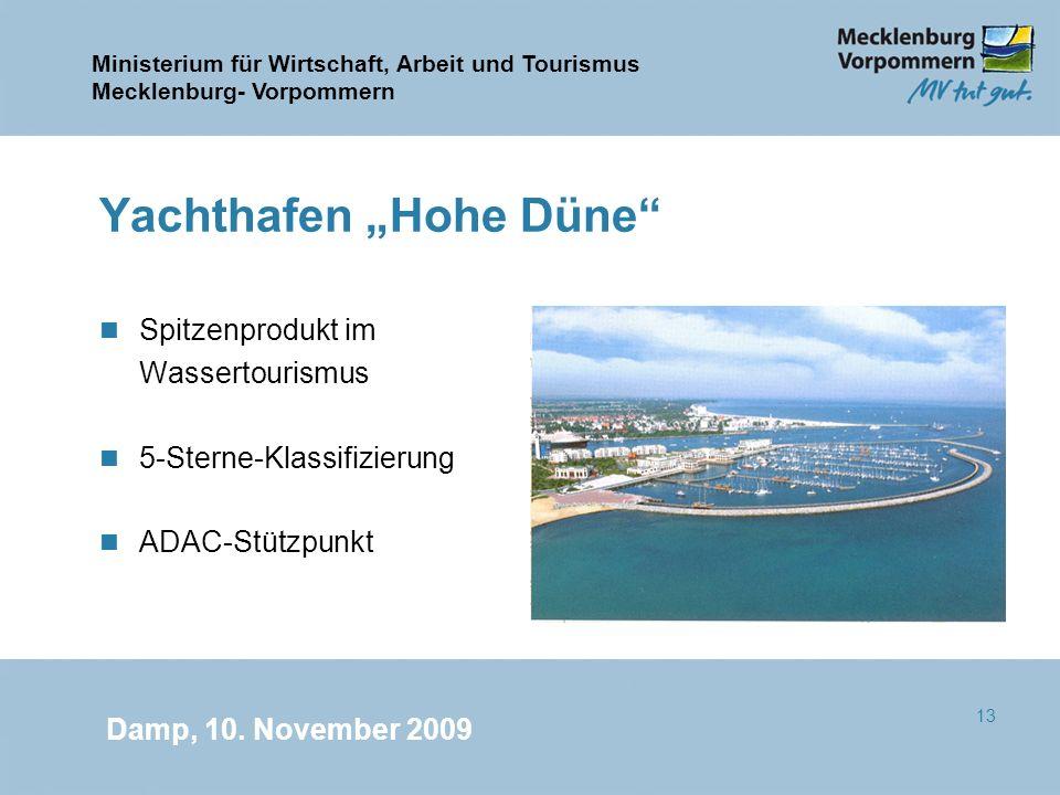 Ministerium für Wirtschaft, Arbeit und Tourismus Mecklenburg- Vorpommern Damp, 10. November 2009 13 Yachthafen Hohe Düne n Spitzenprodukt im Wassertou