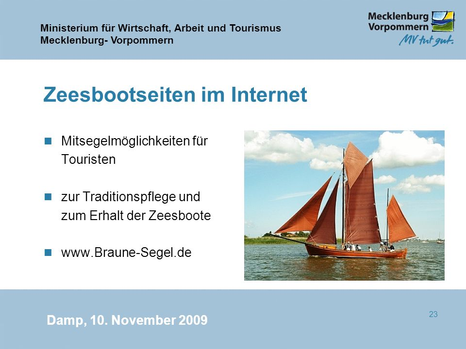 Ministerium für Wirtschaft, Arbeit und Tourismus Mecklenburg- Vorpommern Damp, 10. November 2009 23 Zeesbootseiten im Internet n Mitsegelmöglichkeiten