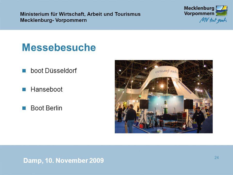 Ministerium für Wirtschaft, Arbeit und Tourismus Mecklenburg- Vorpommern Damp, 10. November 2009 24 Messebesuche n boot Düsseldorf n Hanseboot n Boot