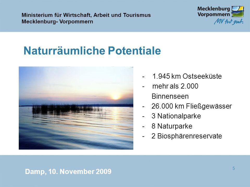 Ministerium für Wirtschaft, Arbeit und Tourismus Mecklenburg- Vorpommern Damp, 10. November 2009 5 Naturräumliche Potentiale - 1.945 km Ostseeküste -