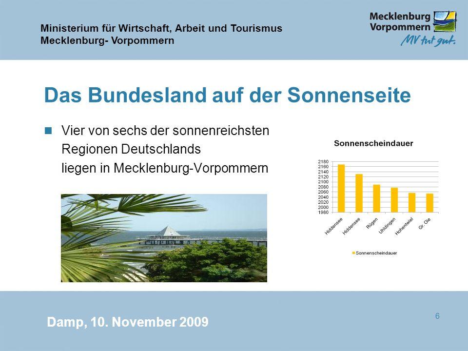 Ministerium für Wirtschaft, Arbeit und Tourismus Mecklenburg- Vorpommern Damp, 10. November 2009 6 Das Bundesland auf der Sonnenseite n Vier von sechs