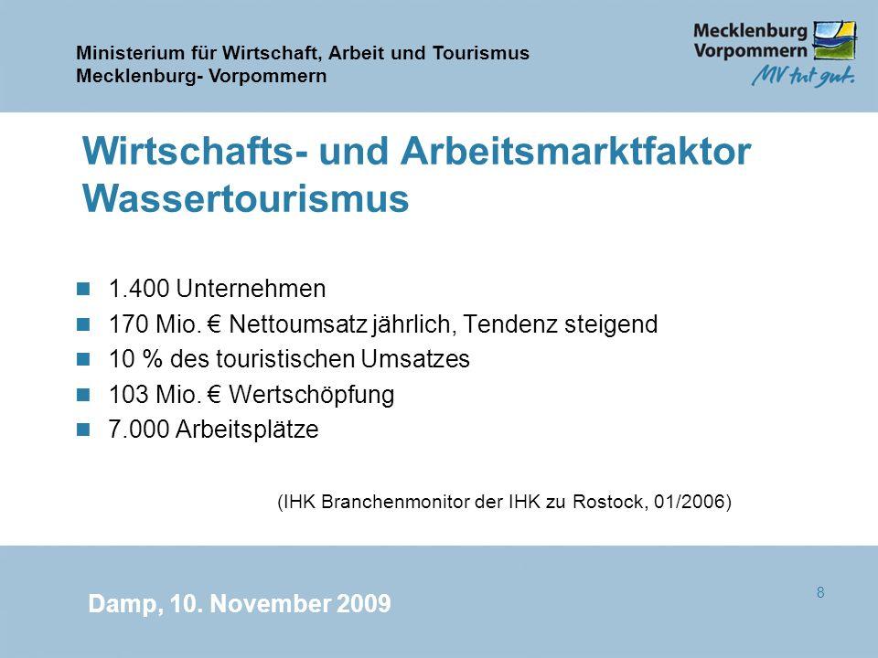Ministerium für Wirtschaft, Arbeit und Tourismus Mecklenburg- Vorpommern Damp, 10. November 2009 8 Wirtschafts- und Arbeitsmarktfaktor Wassertourismus