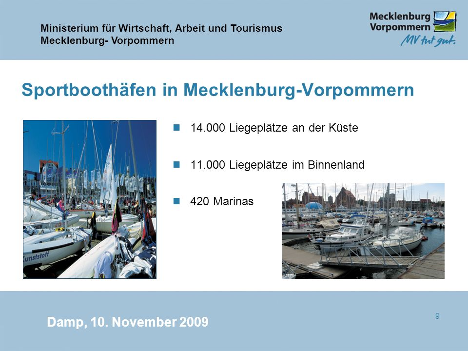 Ministerium für Wirtschaft, Arbeit und Tourismus Mecklenburg- Vorpommern Damp, 10. November 2009 9 Sportboothäfen in Mecklenburg-Vorpommern n 14.000 L