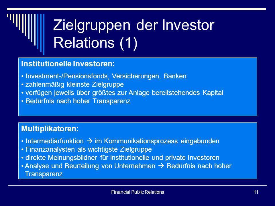 Financial Public Relations11 Zielgruppen der Investor Relations (1) Institutionelle Investoren: Investment-/Pensionsfonds, Versicherungen, Banken zahl