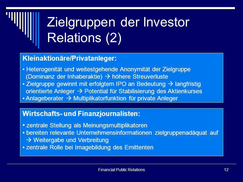 Financial Public Relations12 Zielgruppen der Investor Relations (2) Kleinaktionäre/Privatanleger: Heterogenität und weitestgehende Anonymität der Ziel