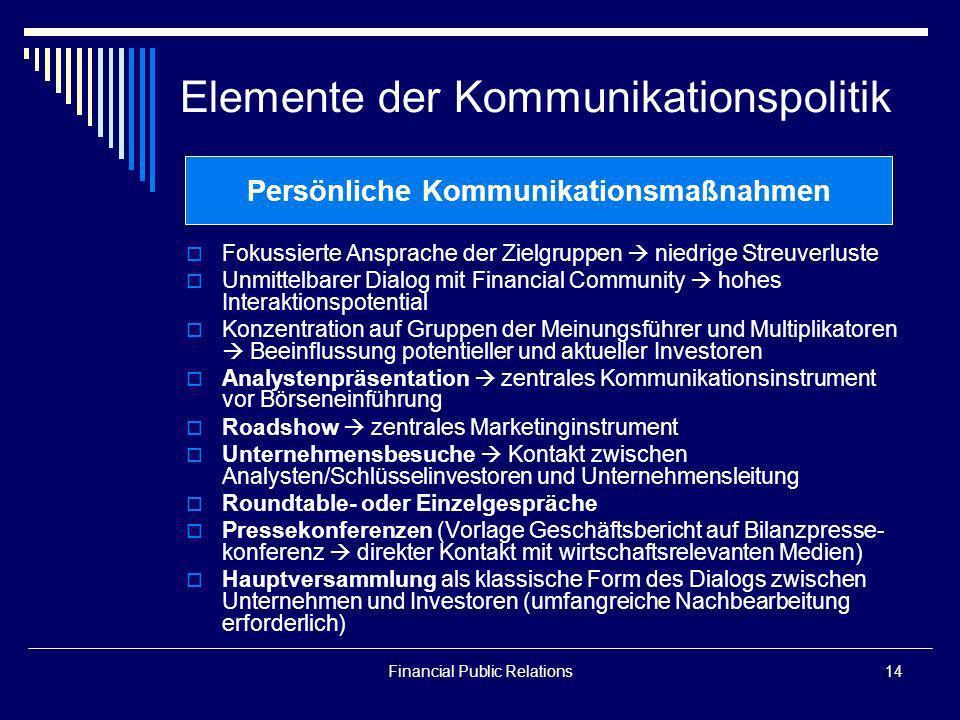 Financial Public Relations14 Elemente der Kommunikationspolitik Fokussierte Ansprache der Zielgruppen niedrige Streuverluste Unmittelbarer Dialog mit