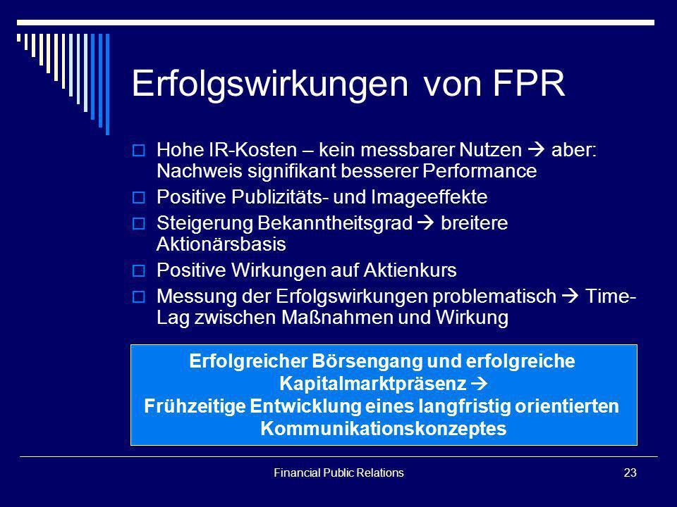 Financial Public Relations23 Erfolgswirkungen von FPR Hohe IR-Kosten – kein messbarer Nutzen aber: Nachweis signifikant besserer Performance Positive