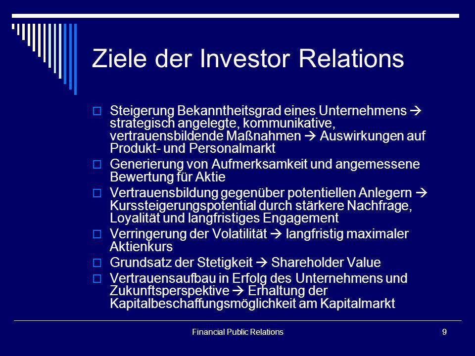 Financial Public Relations9 Ziele der Investor Relations Steigerung Bekanntheitsgrad eines Unternehmens strategisch angelegte, kommunikative, vertraue