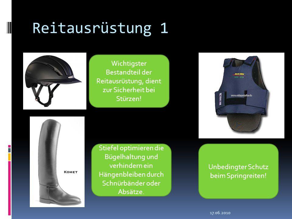 Wichtigster Bestandteil der Reitausrüstung, dient zur Sicherheit bei Stürzen! Unbedingter Schutz beim Springreiten! Stiefel optimieren die Bügelhaltun