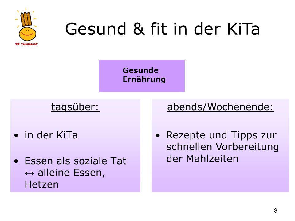 Gesund & fit in der KiTa 3 tagsüber: in der KiTa Essen als soziale Tat alleine Essen, Hetzen Gesunde Ernährung abends/Wochenende: Rezepte und Tipps zu