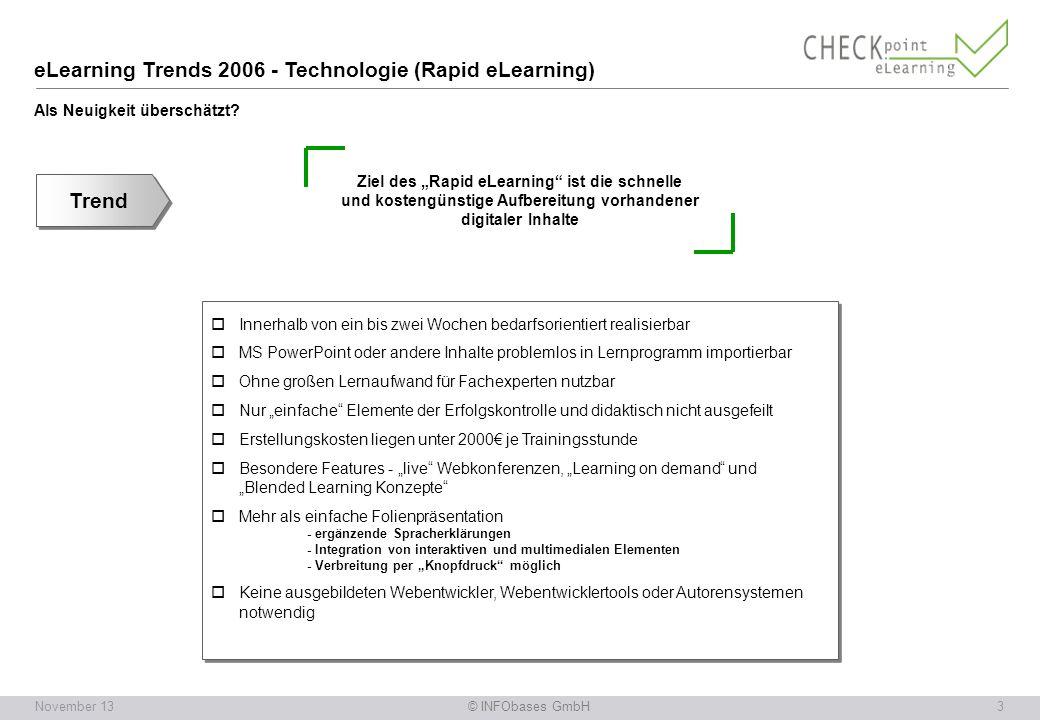 © INFObases GmbH3November 13 eLearning Trends 2006 - Technologie (Rapid eLearning) Als Neuigkeit überschätzt.