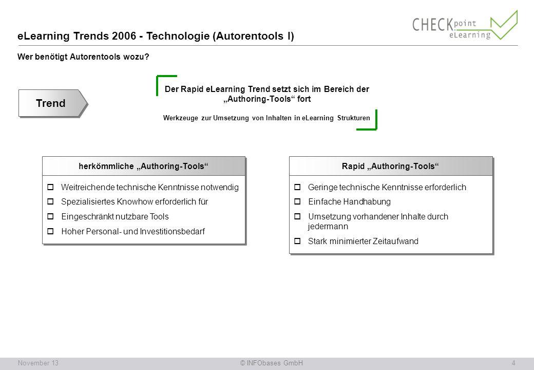 © INFObases GmbH5November 13 eLearning Trends 2006 - Technologie (Autorentools II) Wie lässt sich die Fülle der Angebote unterscheiden.