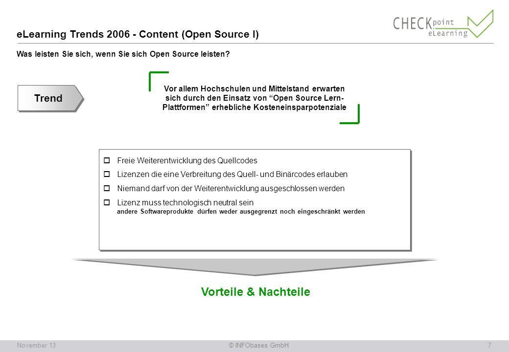 © INFObases GmbH7November 13 Vor allem Hochschulen und Mittelstand erwarten sich durch den Einsatz von Open Source Lern- Plattformen erhebliche Kosteneinsparpotenziale eLearning Trends 2006 - Content (Open Source I) Was leisten Sie sich, wenn Sie sich Open Source leisten.