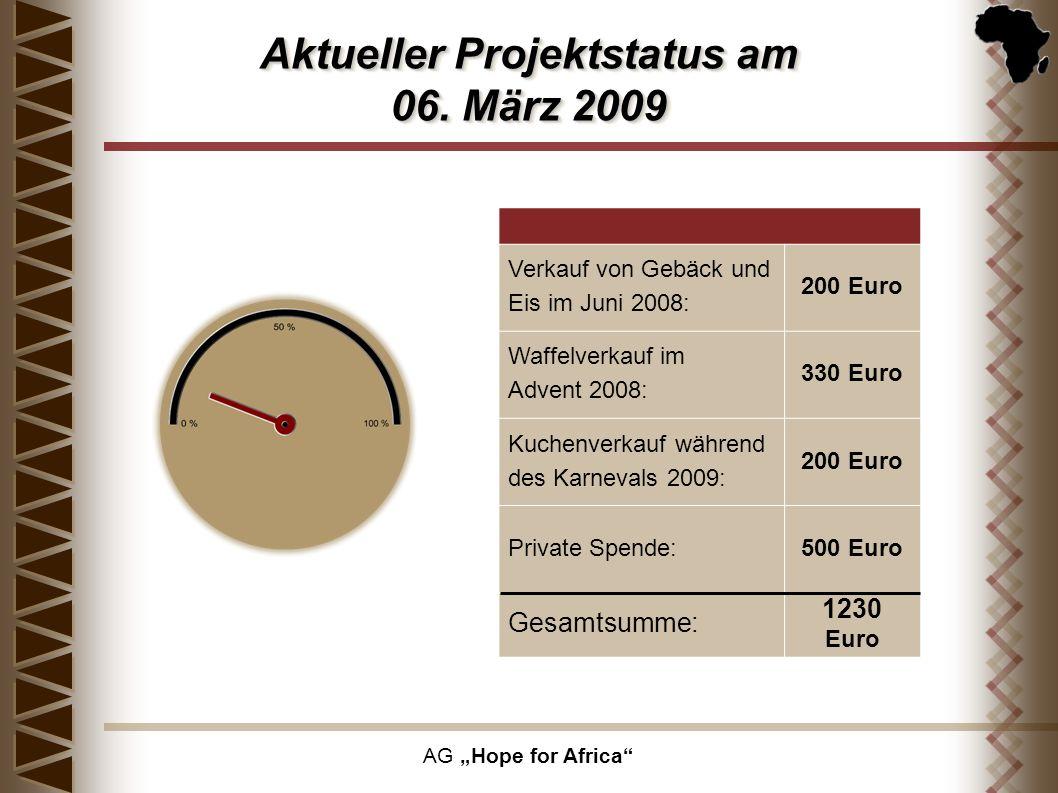 AG Hope for Africa Aktueller Projektstatus am 06. März 2009 Verkauf von Gebäck und Eis im Juni 2008: 200 Euro Waffelverkauf im Advent 2008: 330 Euro K