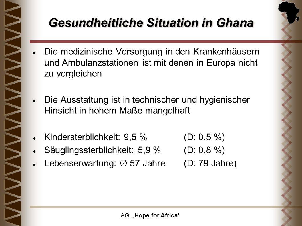 AG Hope for Africa Die medizinische Versorgung in den Krankenhäusern und Ambulanzstationen ist mit denen in Europa nicht zu vergleichen Die Ausstattun