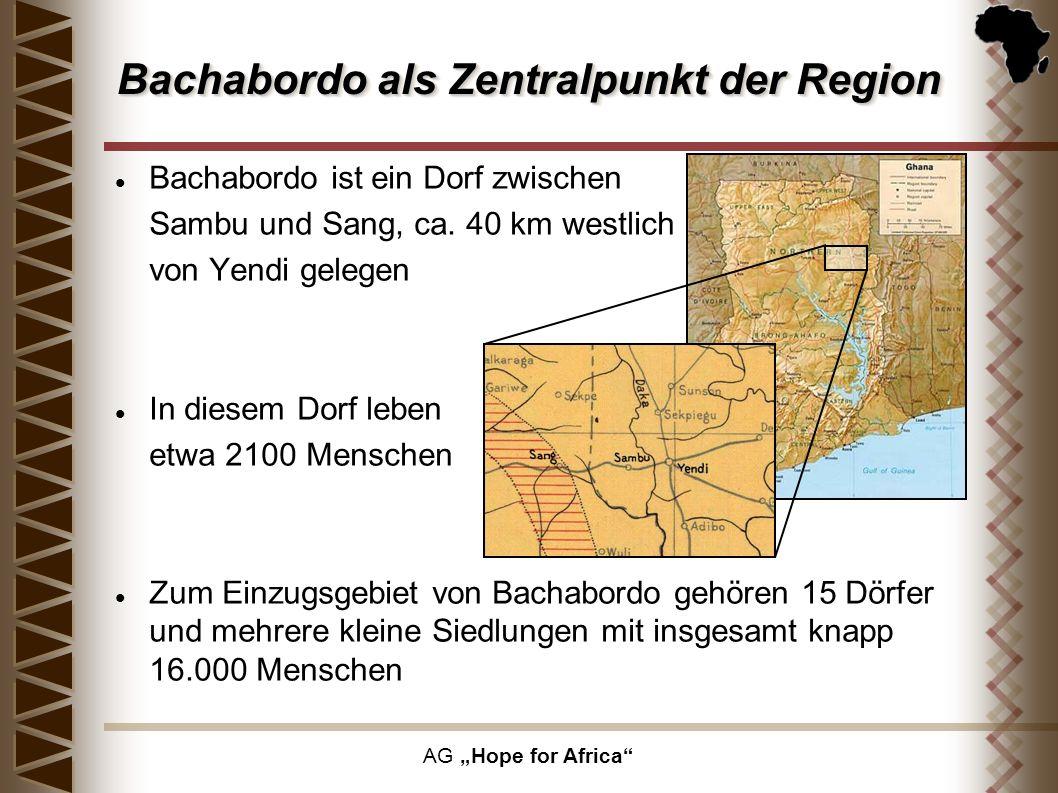 AG Hope for Africa Bachabordo als Zentralpunkt der Region Bachabordo ist ein Dorf zwischen Sambu und Sang, ca. 40 km westlich von Yendi gelegen In die