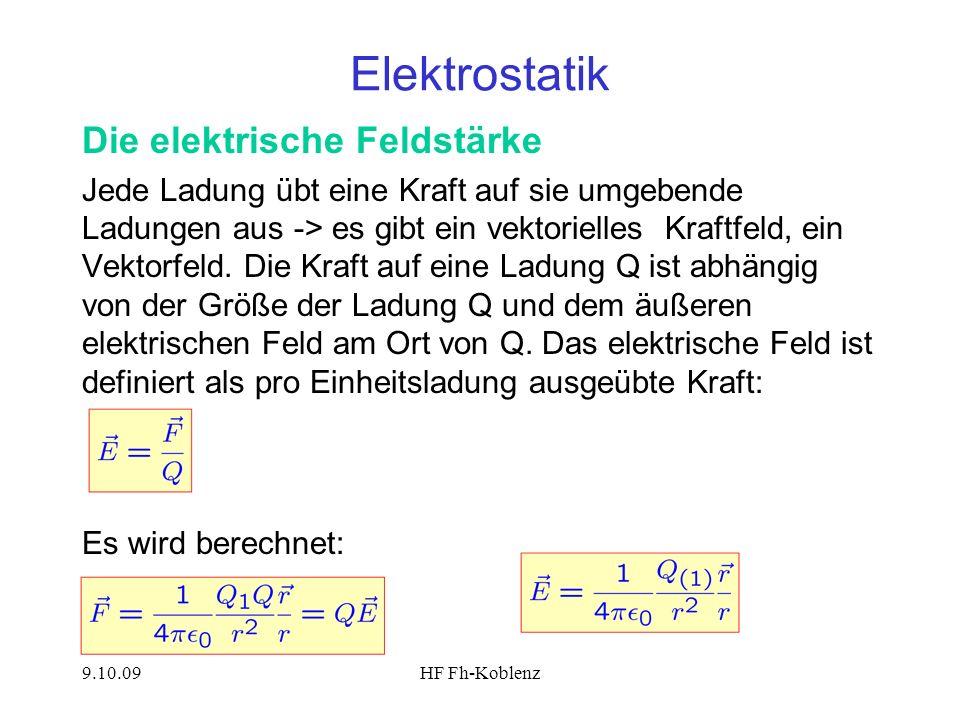 9.10.09HF Fh-Koblenz Elektrostatik Die elektrische Feldstärke Jede Ladung übt eine Kraft auf sie umgebende Ladungen aus -> es gibt ein vektorielles Kr