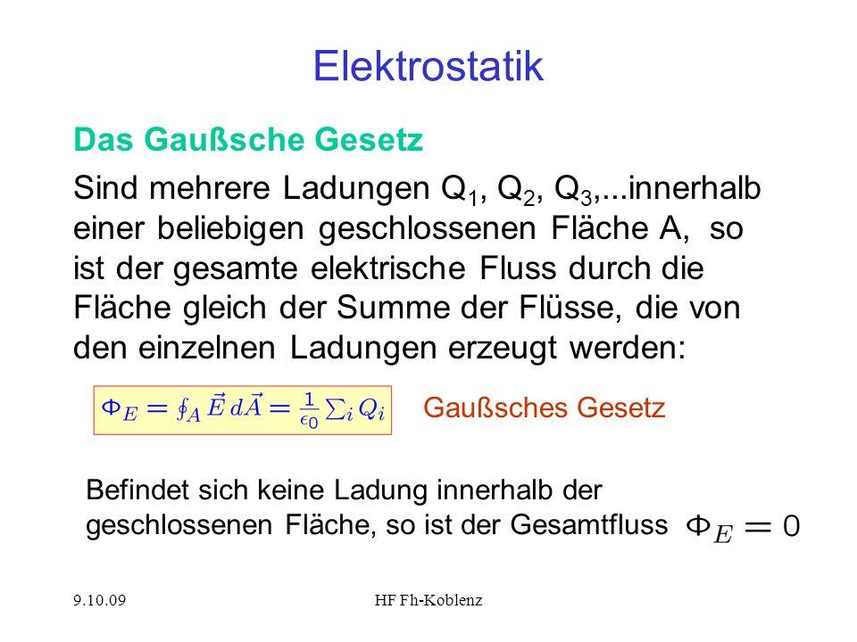 9.10.09HF Fh-Koblenz Elektrostatik Das Gaußsche Gesetz Sind mehrere Ladungen Q 1, Q 2, Q 3,...innerhalb einer beliebigen geschlossenen Fläche A, so is