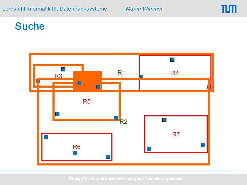 Lehrstuhl Informatik III, DatenbanksystemeMartin Wimmer Übung Einsatz und Implementierung von Datenbanksystemen R5 Suche R3 R7 R4 R6 R2 R1