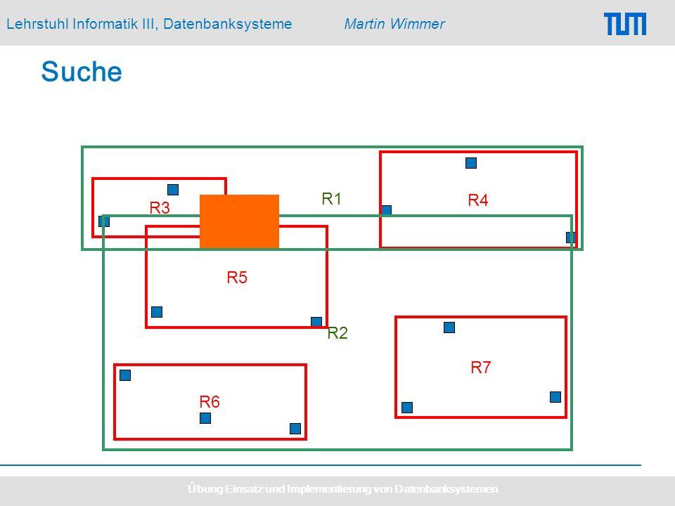 Lehrstuhl Informatik III, DatenbanksystemeMartin Wimmer Übung Einsatz und Implementierung von Datenbanksystemen Suche R3 R7 R4 R5 R6 R2 R1