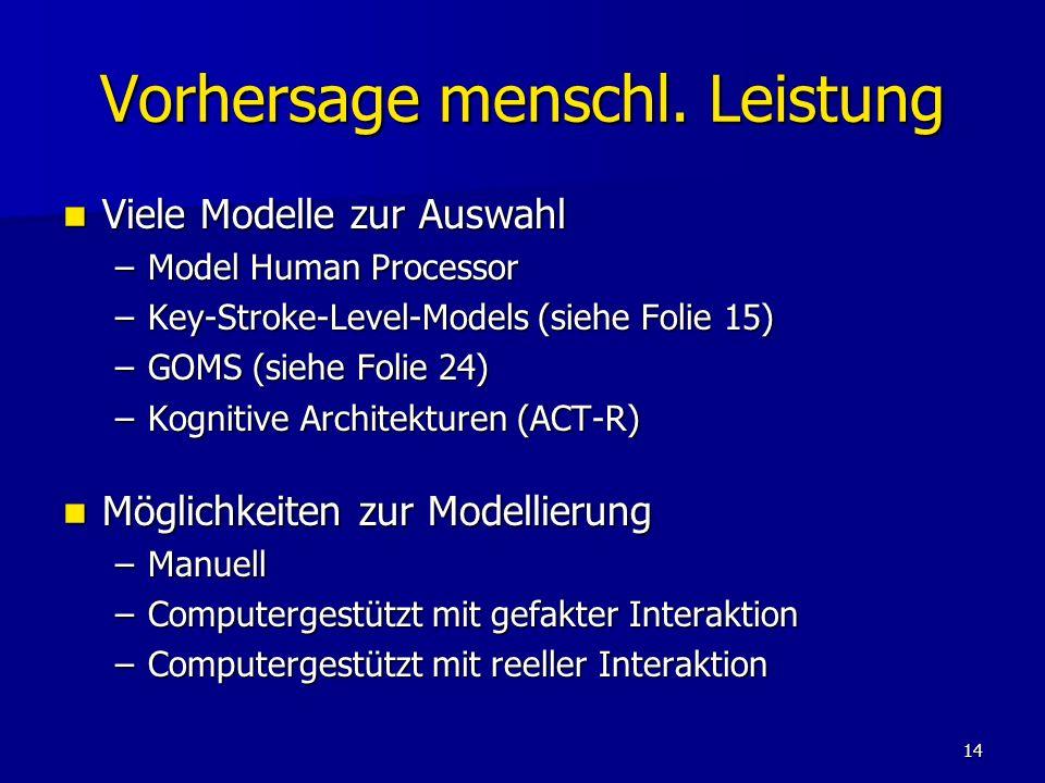 14 Vorhersage menschl. Leistung Viele Modelle zur Auswahl Viele Modelle zur Auswahl –Model Human Processor –Key-Stroke-Level-Models (siehe Folie 15) –