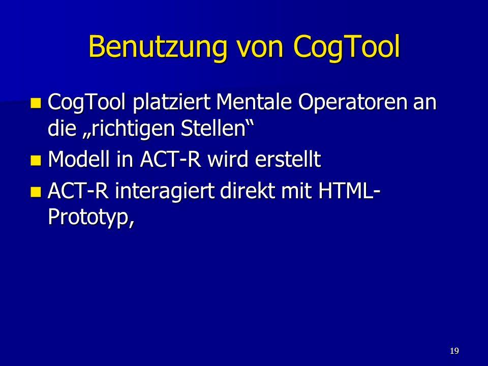19 Benutzung von CogTool CogTool platziert Mentale Operatoren an die richtigen Stellen CogTool platziert Mentale Operatoren an die richtigen Stellen M