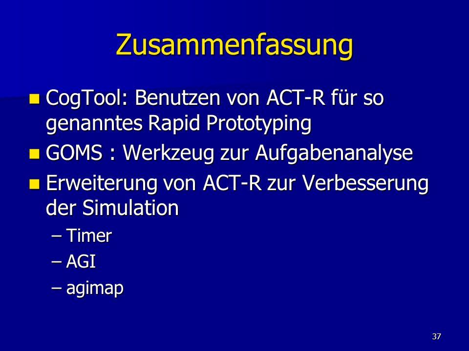 37 Zusammenfassung CogTool: Benutzen von ACT-R für so genanntes Rapid Prototyping CogTool: Benutzen von ACT-R für so genanntes Rapid Prototyping GOMS