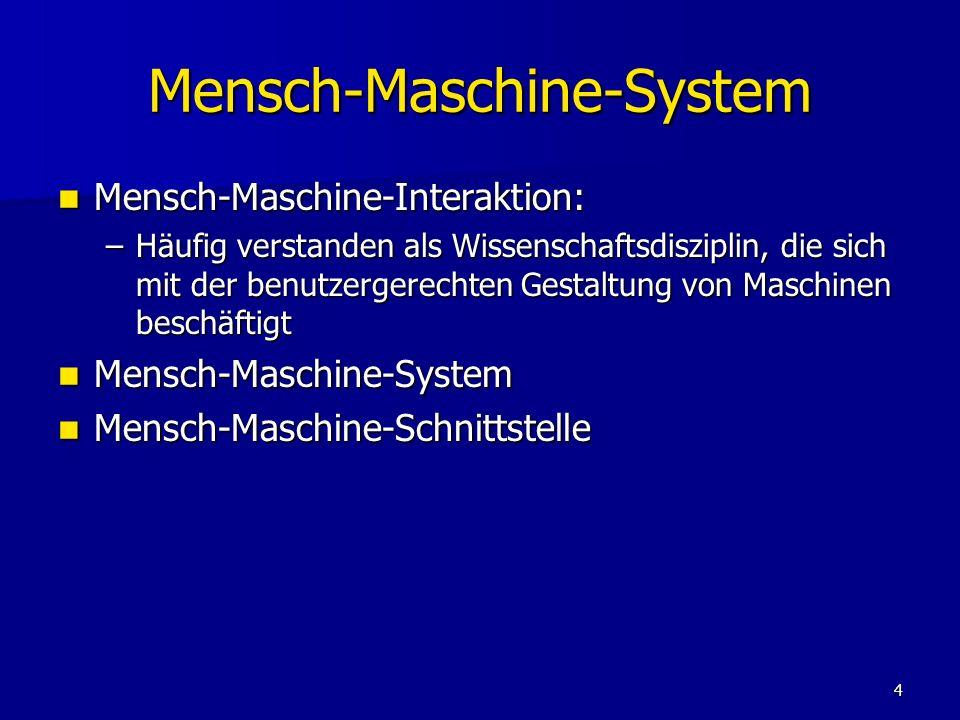 4 Mensch-Maschine-System Mensch-Maschine-Interaktion: Mensch-Maschine-Interaktion: –Häufig verstanden als Wissenschaftsdisziplin, die sich mit der ben