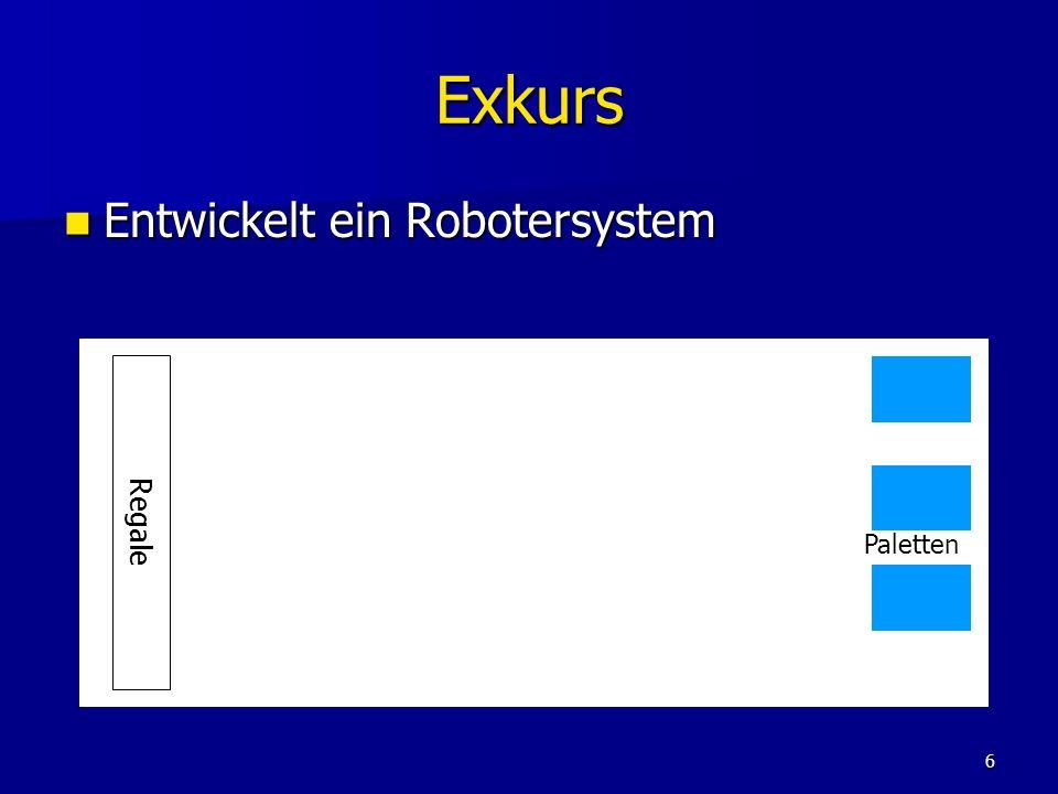 6 Exkurs Entwickelt ein Robotersystem Entwickelt ein Robotersystem Regale Paletten