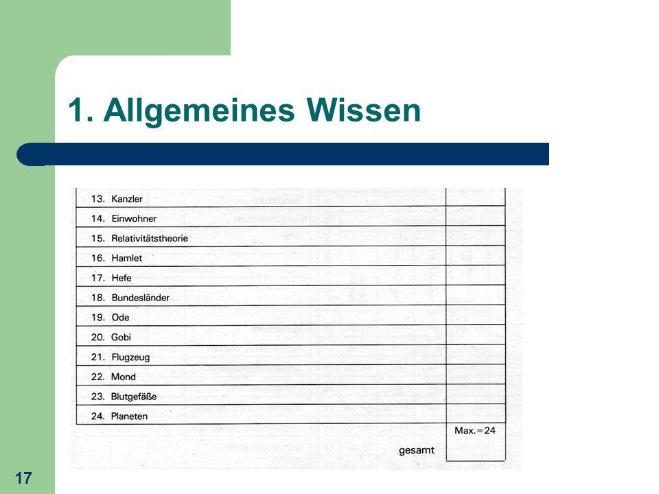 17 1. Allgemeines Wissen