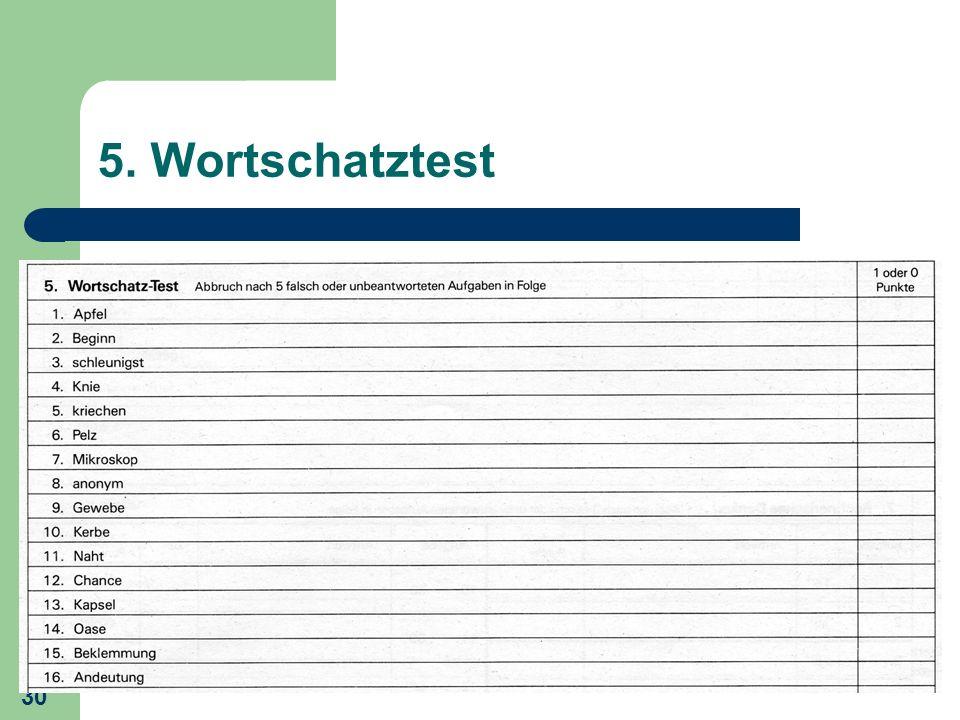 30 5. Wortschatztest
