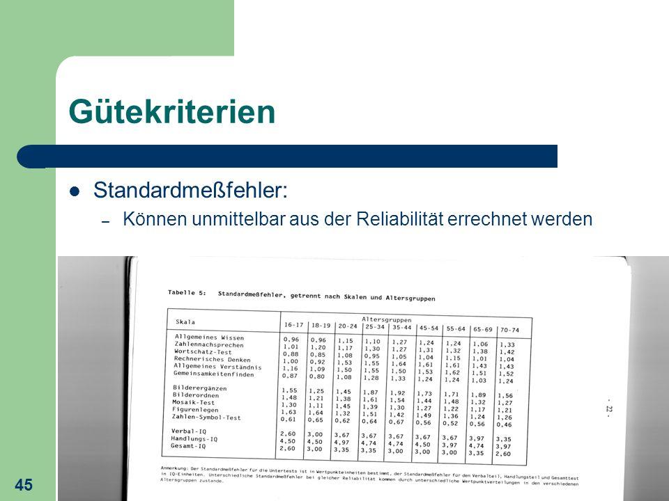 45 Gütekriterien Standardmeßfehler: – Können unmittelbar aus der Reliabilität errechnet werden