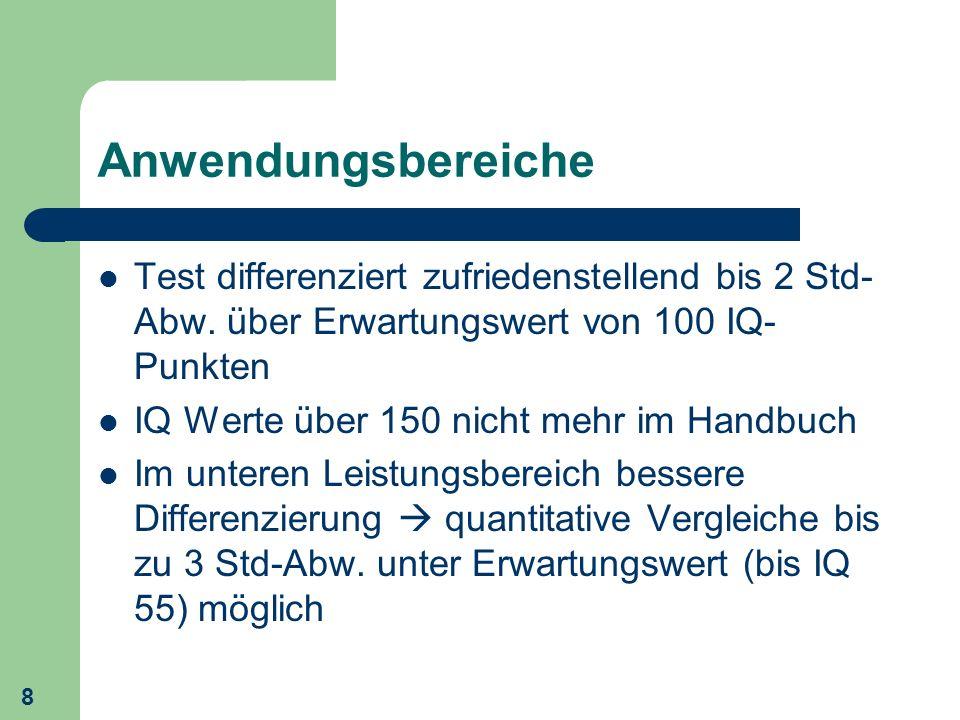 8 Anwendungsbereiche Test differenziert zufriedenstellend bis 2 Std- Abw. über Erwartungswert von 100 IQ- Punkten IQ Werte über 150 nicht mehr im Hand