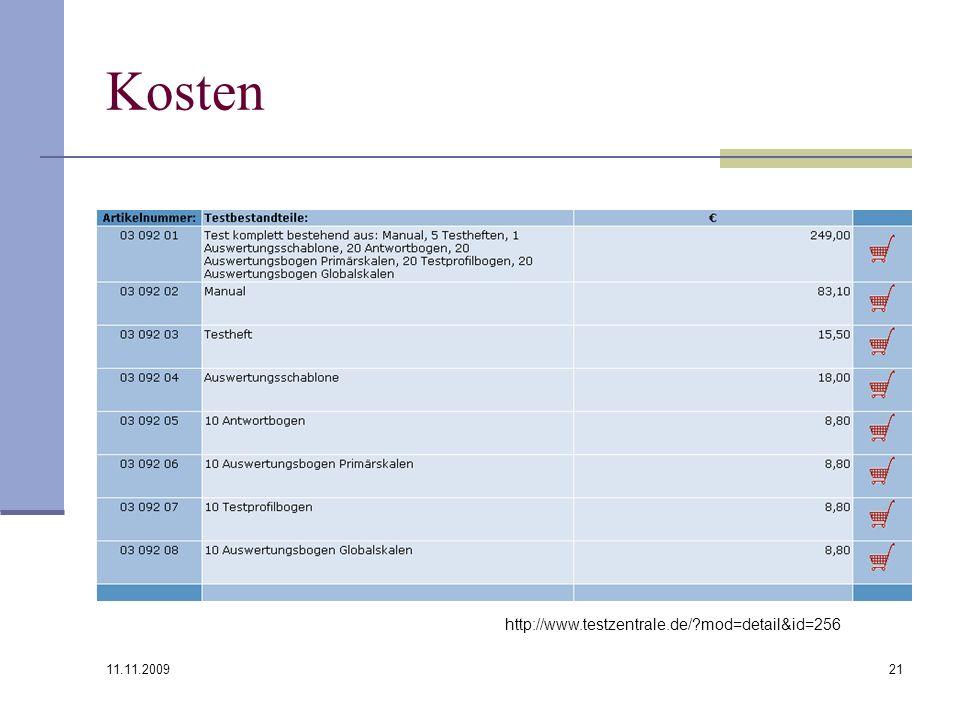 11.11.2009 21 Kosten http://www.testzentrale.de/?mod=detail&id=256