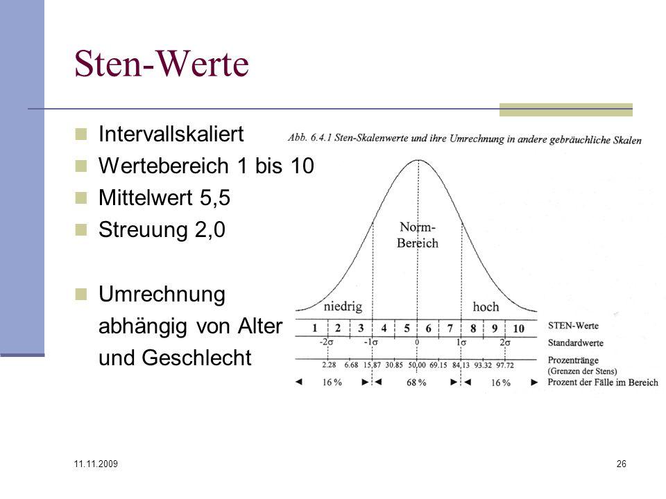 11.11.2009 26 Sten-Werte Intervallskaliert Wertebereich 1 bis 10 Mittelwert 5,5 Streuung 2,0 Umrechnung abhängig von Alter und Geschlecht