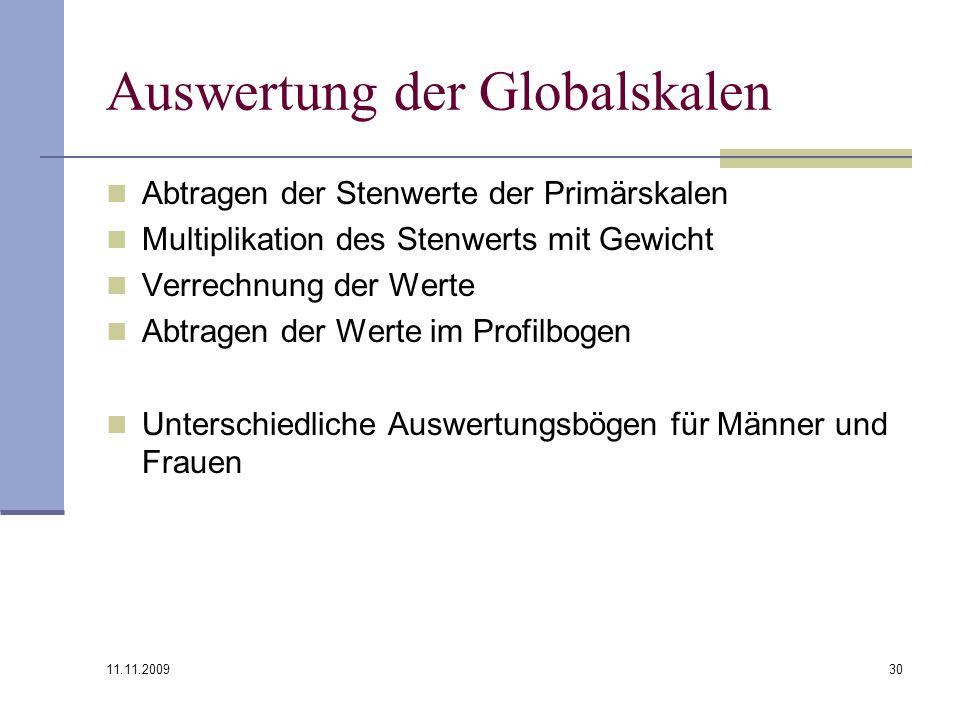 11.11.2009 30 Auswertung der Globalskalen Abtragen der Stenwerte der Primärskalen Multiplikation des Stenwerts mit Gewicht Verrechnung der Werte Abtra