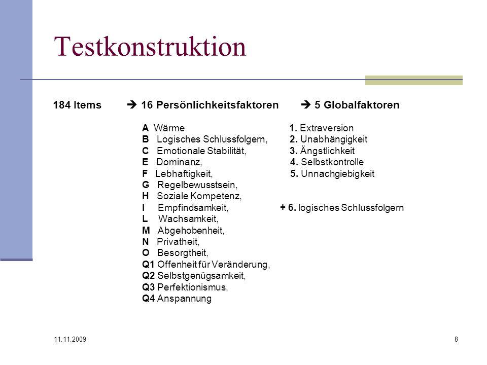 11.11.2009 8 Testkonstruktion 184 Items 16 Persönlichkeitsfaktoren 5 Globalfaktoren A Wärme 1. Extraversion B Logisches Schlussfolgern, 2. Unabhängigk