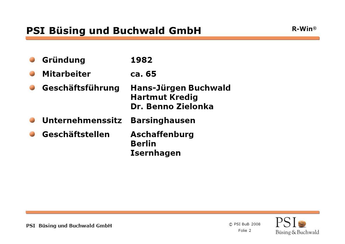 © PSI BuB 2008 Folie 2 Farben Buttons der Geschäftsgebiete Linienstärken 1 Punkt Städtebutton PSI Büsing und Buchwald GmbH R-Win ® PSI Büsing und Buch