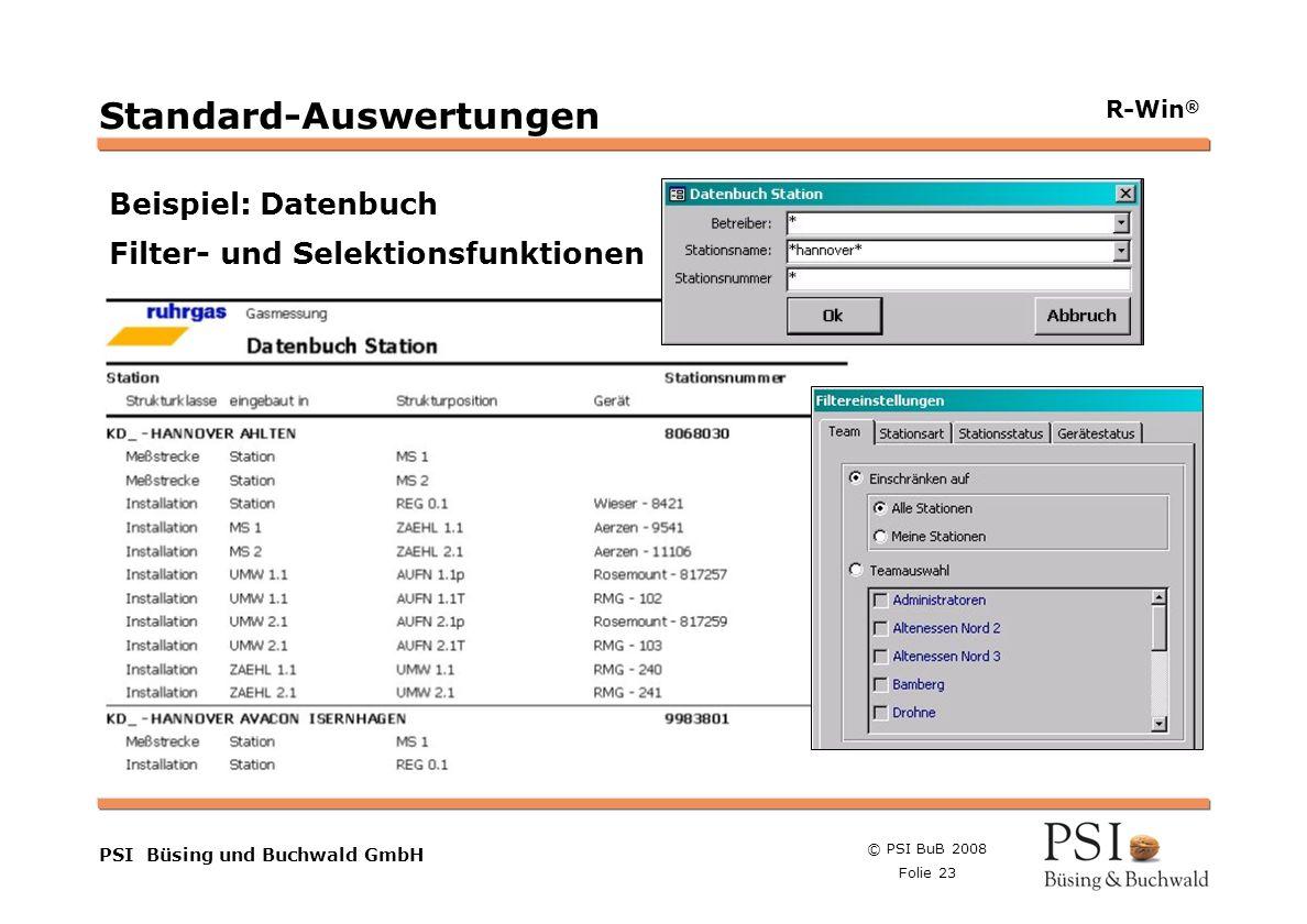 © PSI BuB 2008 Folie 23 Farben Buttons der Geschäftsgebiete Linienstärken 1 Punkt Städtebutton PSI Büsing und Buchwald GmbH R-Win ® Standard-Auswertun