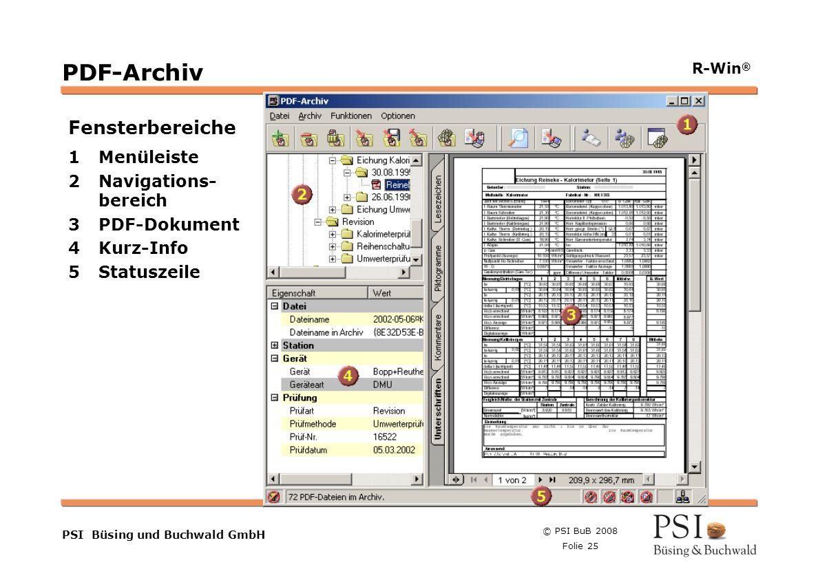 © PSI BuB 2008 Folie 25 Farben Buttons der Geschäftsgebiete Linienstärken 1 Punkt Städtebutton PSI Büsing und Buchwald GmbH R-Win ® PDF-Archiv Fenster