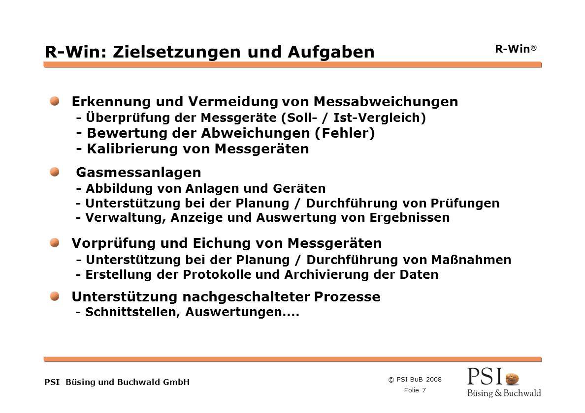 © PSI BuB 2008 Folie 7 Farben Buttons der Geschäftsgebiete Linienstärken 1 Punkt Städtebutton PSI Büsing und Buchwald GmbH R-Win ® R-Win: Zielsetzunge