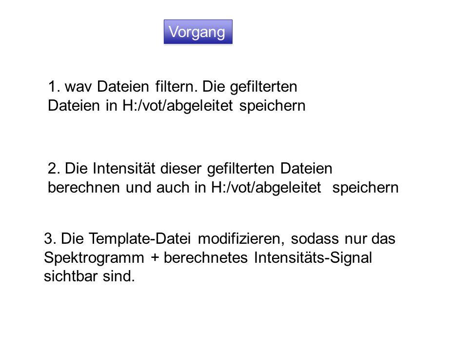 Vorgang 1. wav Dateien filtern. Die gefilterten Dateien in H:/vot/abgeleitet speichern 2. Die Intensität dieser gefilterten Dateien berechnen und auch