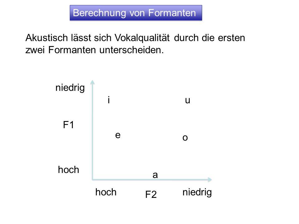Berechnung von Formanten Akustisch lässt sich Vokalqualität durch die ersten zwei Formanten unterscheiden. F1 niedrig hoch F2 hochniedrig iu a e o