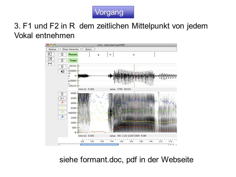 3. F1 und F2 in R dem zeitlichen Mittelpunkt von jedem Vokal entnehmen siehe formant.doc, pdf in der Webseite Vorgang