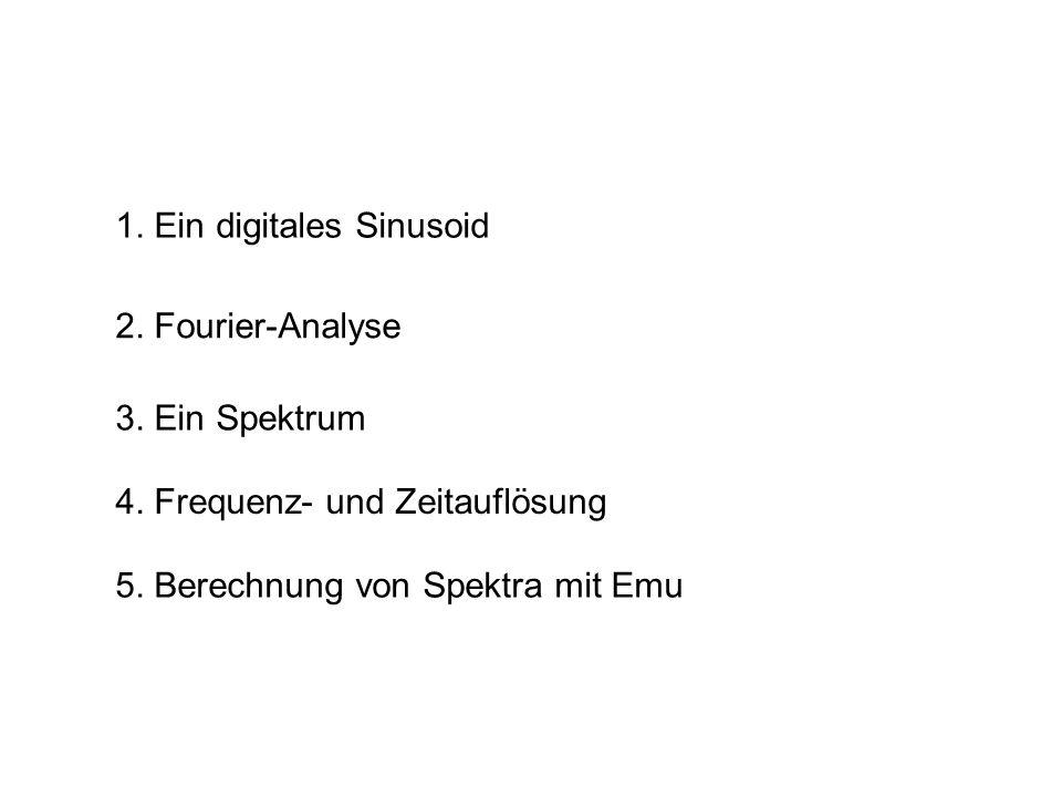 1. Ein digitales Sinusoid 2. Fourier-Analyse 5. Berechnung von Spektra mit Emu 3. Ein Spektrum 4. Frequenz- und Zeitauflösung