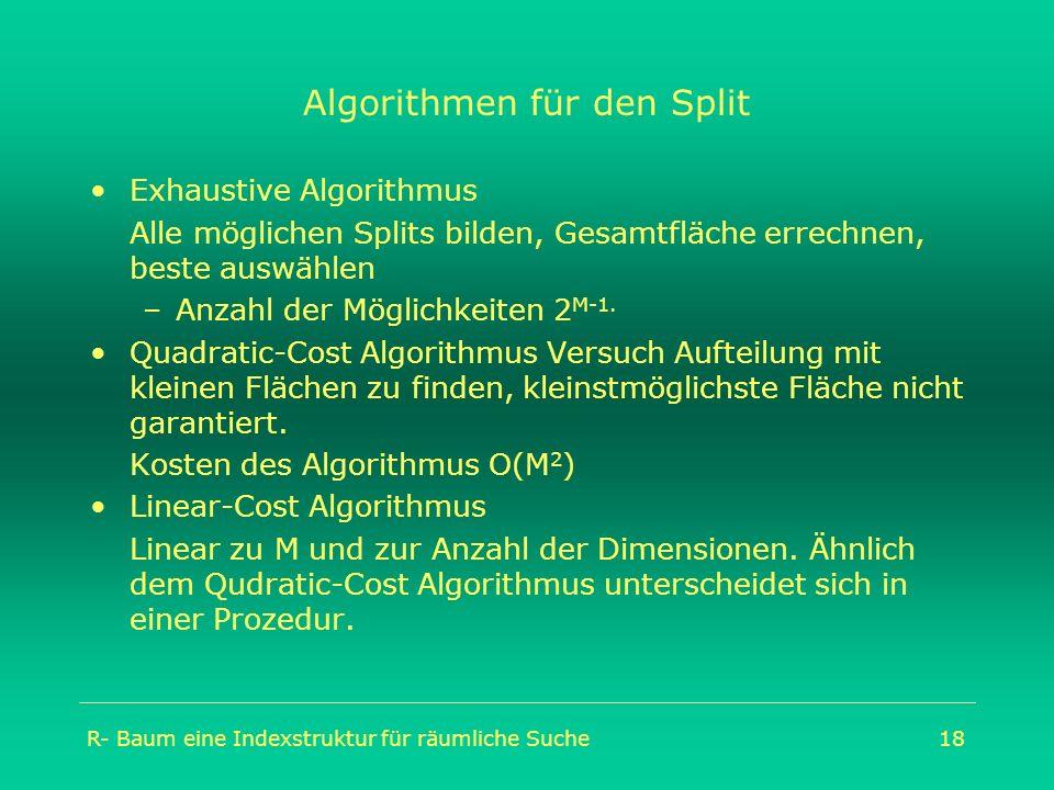 R- Baum eine Indexstruktur für räumliche Suche18 Algorithmen für den Split Exhaustive Algorithmus Alle möglichen Splits bilden, Gesamtfläche errechnen